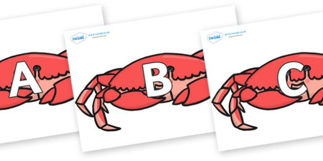 A-Z Alphabet on Crabs - A-Z, A4, display, Alphabet frieze, Display letters, Letter posters, A-Z letters, Alphabet flashcards