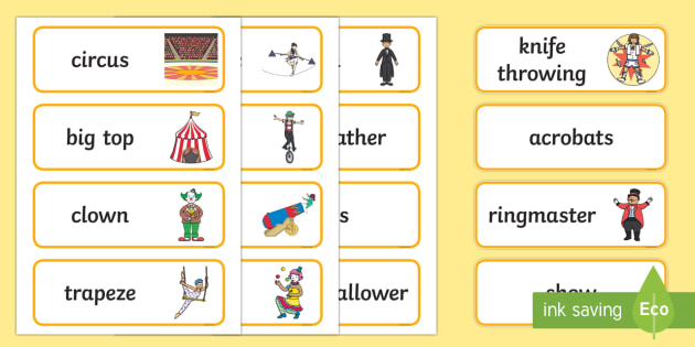 Circus Word Cards - circus, clown, juggler, word card, flashcards, cards, acrobats, big top, magician, monkey, ring master, trapeze, horse, elephant, lion tamer, stilts, sea lion