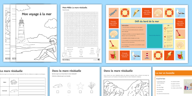 Summer Fun in the Holidays Activity Pack French - KS3, holiday, differentiated, activities, wordsearches, vacances, town, seaside