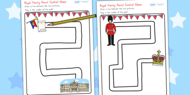 Royal Family Pencil Control Path Worksheets - fine motor skills