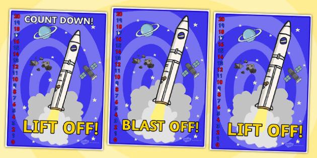 Space Rocket Countdown Display Posters 20-0 - space, rocket