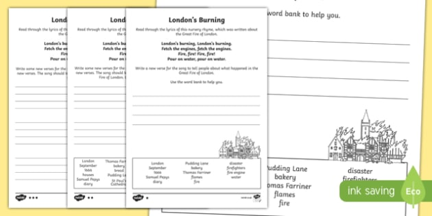 London's Burning Song Writing Differentiated Activity Sheet Pack, worksheet