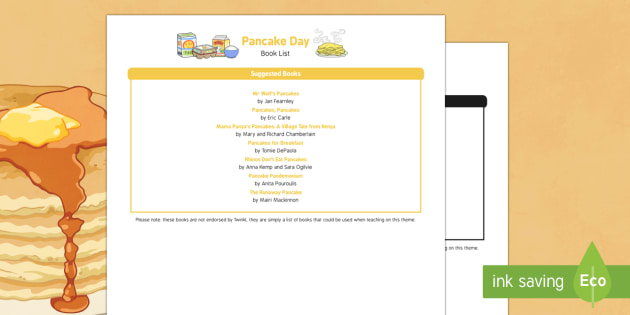 Pancake Day Book List - EYFS, early years, Shrove Tuesday, Celebrations, Festivals