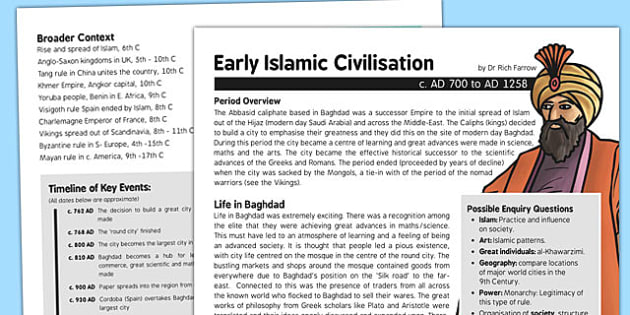 Early Islamic Civilisation Baghdad History Fact Sheet for Adults