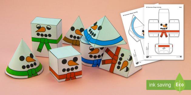 Simple 3D Snowman Shapes Christmas Nets Paper Craft