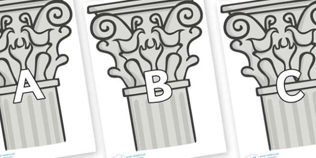 A-Z Alphabet on Columns - A-Z, A4, display, Alphabet frieze, Display letters, Letter posters, A-Z letters, Alphabet flashcards