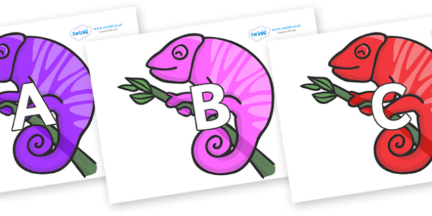 A-Z Alphabet on Chameleons - A-Z, A4, display, Alphabet frieze, Display letters, Letter posters, A-Z letters, Alphabet flashcards