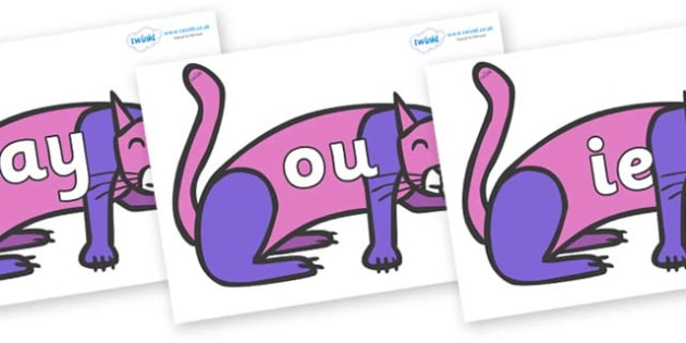 Phase 5 Phonemes on Purple Cat to Support Teaching on Brown Bear, Brown Bear - Phonemes, phoneme, Phase 5, Phase five, Foundation, Literacy, Letters and Sounds, DfES, display