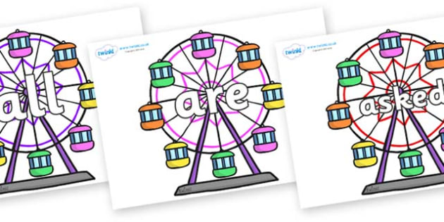 Tricky Words on Ferris Wheels - Tricky words, DfES Letters and Sounds, Letters and sounds, display, words