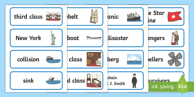 The Titanic Word Cards - The Titanic, resources, word card, cards, flaschards, Iceberg, Ship, Liner, White Star Line, disaster, New York, sink, lifeboat, boat, captain, survivors