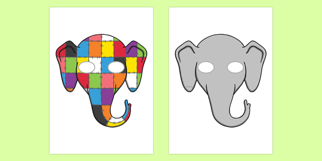 Role Play Masks to Support Teaching on Elmer - Elmer, Elmer the elephant, resources, Elmer story, patchwork elephant, PSHE, PSE, David McKee, colours, patterns, story, story book, story book resources, story sequencing, story resources, role pl