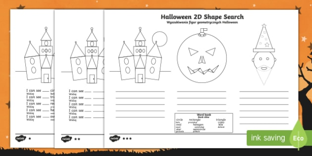 Halloween 2d shape search activity sheet English/Polish Translation