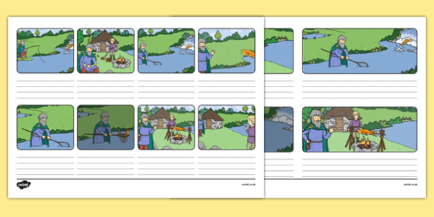 Fionn and the Salmon of Knowledge Lined Storyboard Template - storyboard template, roi, republic, of ireland, myths, legends,