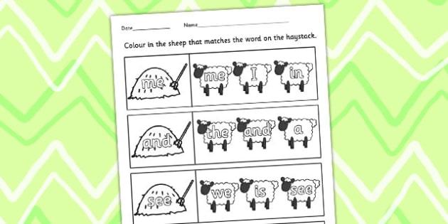 Farm Word Matching Worksheet - farm animals, match, sort, order