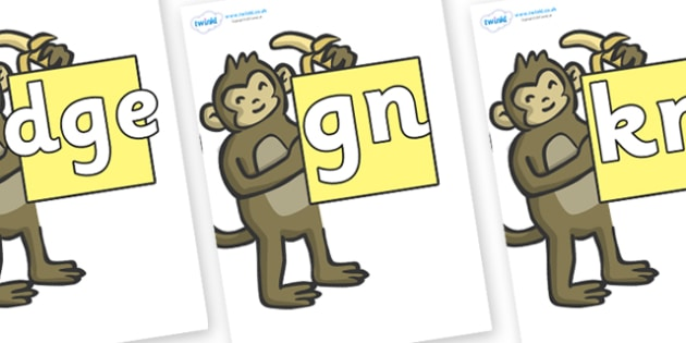 Silent Letters on Monkeys - Silent Letters, silent letter, letter blend, consonant, consonants, digraph, trigraph, A-Z letters, literacy, alphabet, letters, alternative sounds