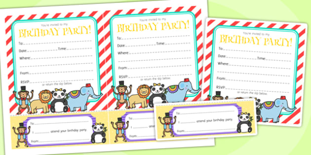 Animal Themed Birthday Party Invitations - birthdays, parties