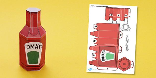 Supermarket Role Play Tomato Sauce Paper model - model, bottle