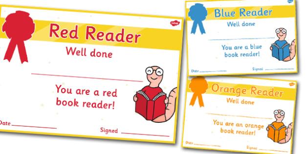 Editable Book Colours Reading Certificates - Editable Book Colours Reading Certificates, colours, colour, reading, read, books, editable, book, certificates, award, well done, reward, medal, rewards, school, general, certificate, achievement