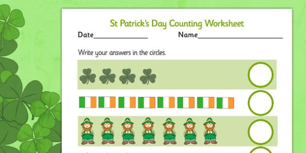 St Patricks Day Counting Sheet - counting, sheet, st patrick
