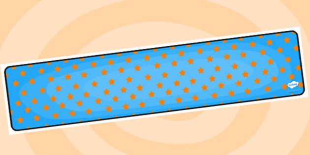 Blue with Orange Stars Editable Display Banner - blue, orange, display, banner, display banner, display header, themed banner, editable banner, editable