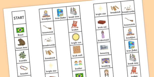 Two Syllable BR Board Game - br, board game, syllable, sound, sen