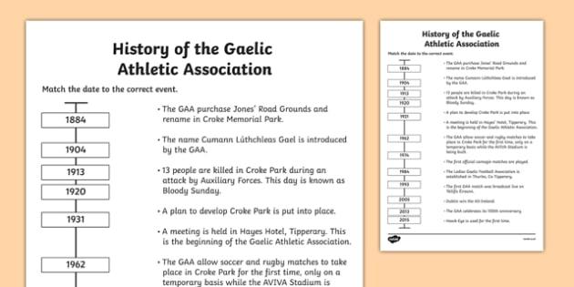 History of the GAA Timeline Matching Activity - history, ireland, GAA, hurling, worksheet, timeline, activity, sport