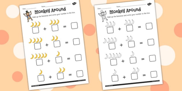Monkey Bananas Counting Worksheet - monkey, bananas, counting
