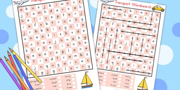 Transport Wordsearch - transport, wordsearch, word game, literacy