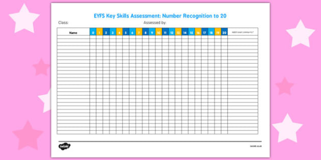 EYFS Key Skills Assessment Number Recognition to 20 - key skills
