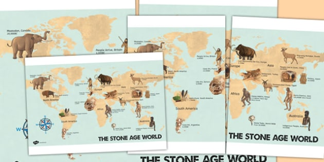 The Stone Age World Display Poster - stone age, display, poster