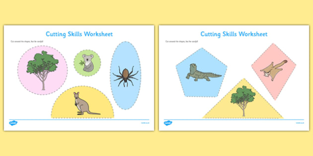 Bush Habitat Cutting Skills Worksheet - australia, Science, Year 1, Habitats, Australian Curriculum, Bush, Living, Living Adventure, Environment, Living Things, Animals, Plants, Cutting Skills, Fine Motor