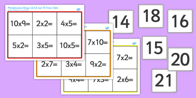 Multiplication Bingo 2, 3, 4, 5 and 10 Times Table Romanian Translation - romanian, multiplication, multiply, multiplying, 2, 3, 4, 5, 10, times, table, times table, bingo, game, fun, activity, learning, maths