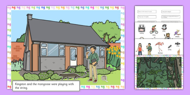 Silly 'ng' Sentences Cut and Stick Pictures - ng sound, silly sentences, EYFS, KS1, letters and sounds, speech, saying sounds, digraphs, two letters one sound