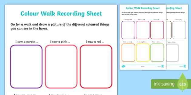 Colour Walk Recording Sheet