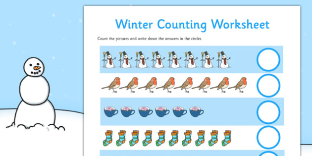 Winter Counting Sheet Up to 20 - winter, counting, sheet, up to 20, count