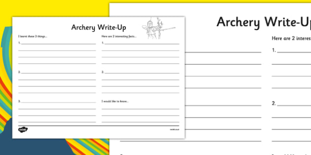 The Olympics Archery Write Up Worksheet - the olympics, rio olympics, rio 2016, 2016 olympics, archery, write up worksheet