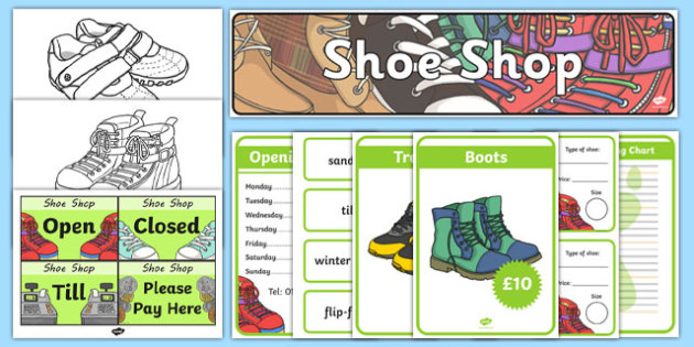 Shoe Shop Role Play Pack - Shoe shop, shoes, role play, pack, shop, trainers, shoe box, labels, measuring chart, word cards