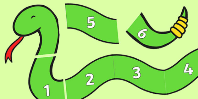 Numbers 1-6 on Counting Snake - numbers, 1-6, counting, count, snake, maths, mathematics