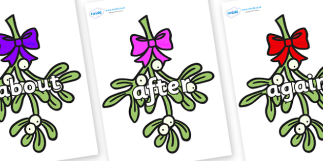 KS1 Keywords on Mistletoe (Bells) - KS1, CLL, Communication language and literacy, Display, Key words, high frequency words, foundation stage literacy, DfES Letters and Sounds, Letters and Sounds, spelling