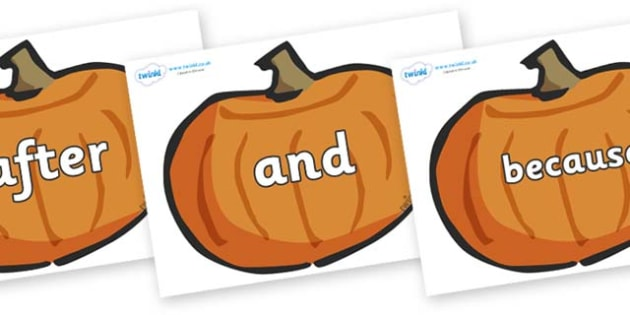 Connectives on Pumpkins - Connectives, VCOP, connective resources, connectives display words, connective displays