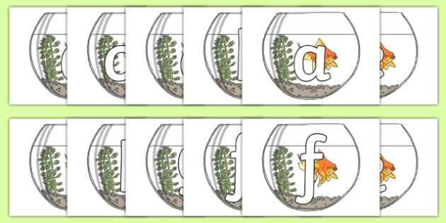 Phoneme Set on Fish Bowls - Phoneme set, phonemes, phoneme, Letters and Sounds, DfES, display, Phase 1, Phase 2, Phase 3, Phase 5, Foundation, Literacy