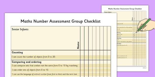 1999 Curriculum Senior Infants Maths Number Assessment Group Checklist - roi, irish, gaeilge, assessment checklist, maths, senior infants, number