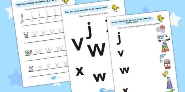 Letters And Sounds Workbook J V W X - letters, sounds, workbook