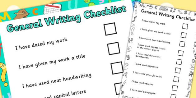 General Writing Checklist - general, writing, checklist, list