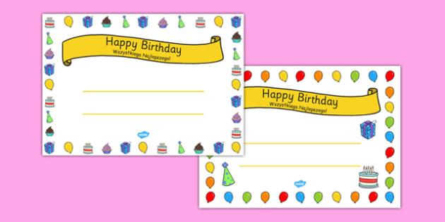 General Happy Birthday Certificates Polish Translation - polish, general, happy birthday, certificates