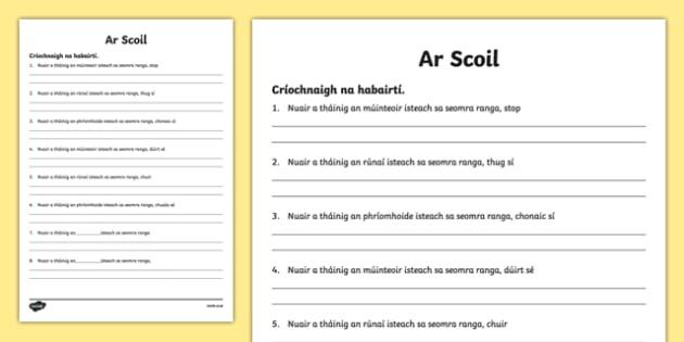 When the Teacher Came In Writing Activity Sheet Gaeilge - Irish, worksheet