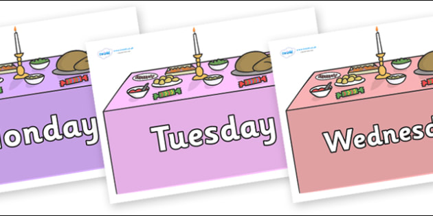 Days of the Week on Christmas Dinner (Tables) - Days of the Week, Weeks poster, week, display, poster, frieze, Days, Day, Monday, Tuesday, Wednesday, Thursday, Friday, Saturday, Sunday
