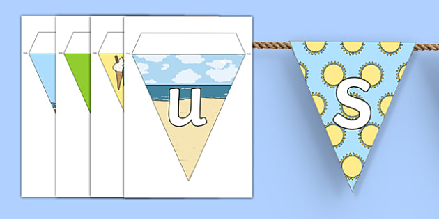 Summer Display Lettering Bunting - summer, display, bunting
