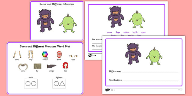Same and Different Monsters - Concept development, language delay, language disorder, semantic links, describing, vocabulary development, autism