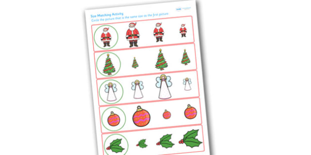 Christmas Size Matching Worksheet - christmas, size matching